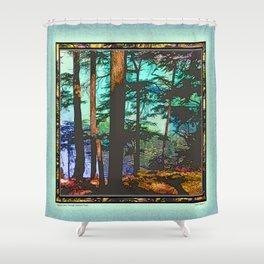 MOUNTAIN LAKE THROUGH HEMLOCK TREES Shower Curtain