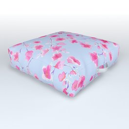 Cherry Blossoms Periwinkle (For Mackenzie) Outdoor Floor Cushion