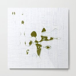 Golden random shape shines on the white background with blue messy lines abstract design Metal Print