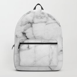Pure White Real Marble Dark Grain All Over Backpack