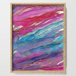 AGATE MAGIC PinkAqua Red Lavender, Marble Geode Natural Stone Inspired Watercolor Abstract Painting Serving Tray