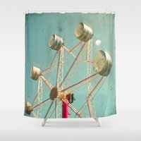 ferris wheel Shower Curtains featuring Ferris Wheel by Cassia Beck