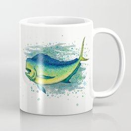 """Mahi Mahi Splash"" by Amber Marine ~ Watercolor & Ink Painting, (Copyright 2016) Coffee Mug"