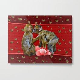 Kissing Chimpanzees Floating Hearts Metal Print