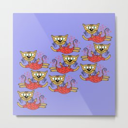 Cats in pink Metal Print
