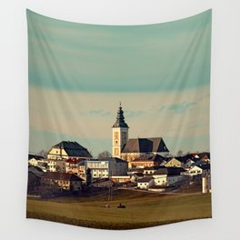 Small village skyline with mint sky | landscape photography Wall Tapestry