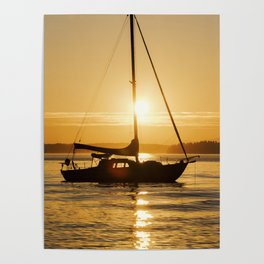 Sunset Escape Boat Poster
