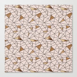 Modern abstract blush pink faux gold geometrical Canvas Print