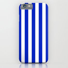 Cobalt Blue and White Vertical Beach Hut Stripe iPhone Case