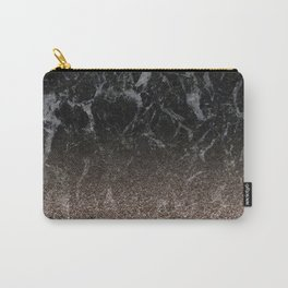 Glitter ombre - black marble & rose gold glitter Carry-All Pouch