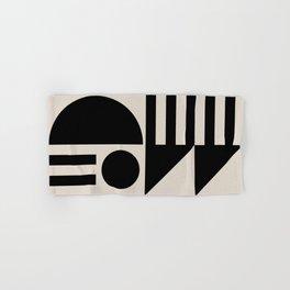 Mid Century Modern Geometric Abstract 936 Black and Linen White Hand & Bath Towel