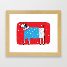 Dog and the ugly sweater Framed Art Print