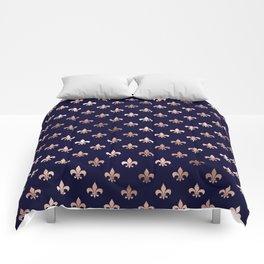 Royal Blue Rose Gold Pattern Comforters