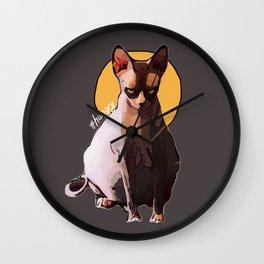 Grumpy & Hungry cat illustration Wall Clock