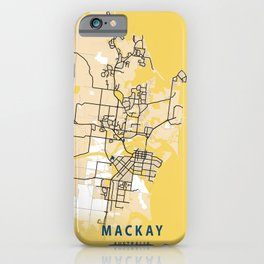 Mackay Yellow City Map iPhone Case