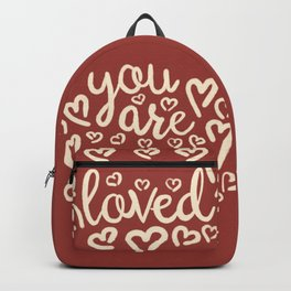 You Are Loved, Hand-written Doodle Motivation, Love And Care Typography Artwork, Terracotta Color Backpack