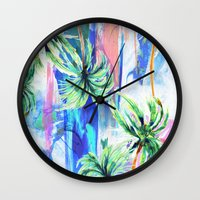 palm trees Wall Clocks featuring Palm trees by Nikkistrange