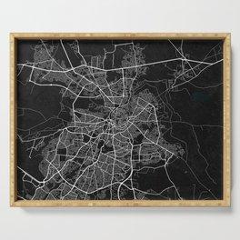 Nicosia City Map of Cyprus - Dark Serving Tray