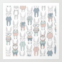 bunnies Art Prints featuring BUNNIES by Catalina Graphic