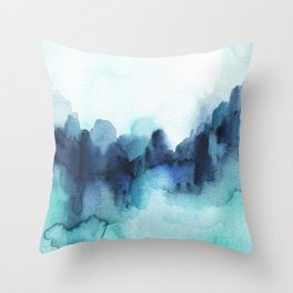 Wonderful blues Abstract watercolor Throw Pillow