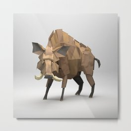 The Paper Fox : Boar Metal Print