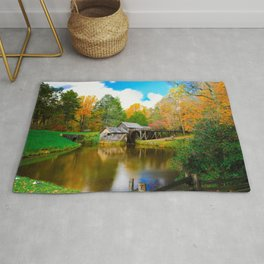 Photo USA Watermill Mabry Mill, Virginia Autumn Nature water mill Rug