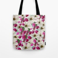 matty healy Tote Bags featuring Spring Blossoms Abstract  by Judy Palkimas