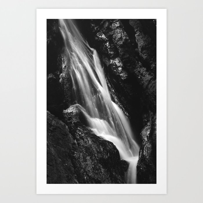 Black and white waterfall in Hell Gorge, Slovenia Art Print