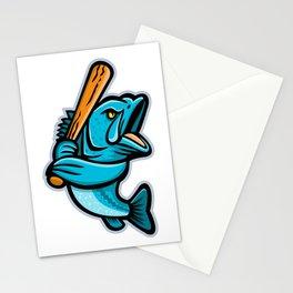 Largemouth Bass Baseball Mascot Stationery Cards
