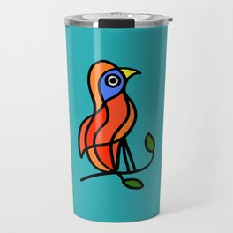 Color Bird on a Twig on Blue Travel Mug