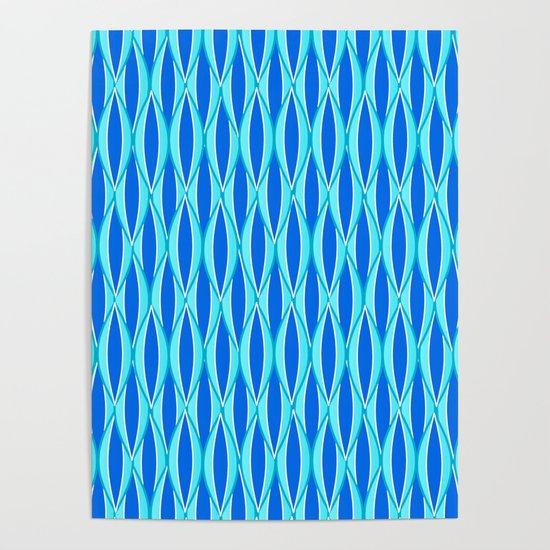 Mid-Century Ribbon Print, Shades of Blue and Aqua by mmgladn10