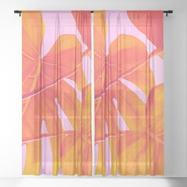 Monstera Quench - Pink & Orange Sheer Curtain