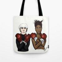 basquiat Tote Bags featuring Warhol Basquiat by Mackenzie Mauro
