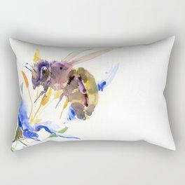 Honey Bee and Blue Flower Rectangular Pillow