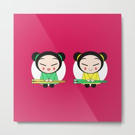 Funny Japanese Girls Metal Print