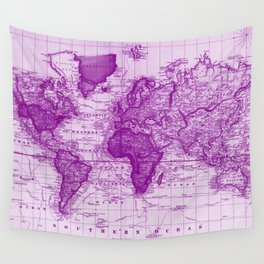 Vintage Map of The World (1833) White & Purple Wall Tapestry
