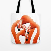 flamingos Tote Bags featuring Flamingos by Regan's World