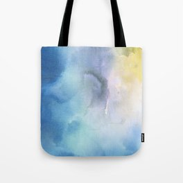 Navy blue teal lavender yellow watercolor brushstrokes Tote Bag