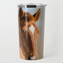 Brown Horse Winter Sky Travel Mug