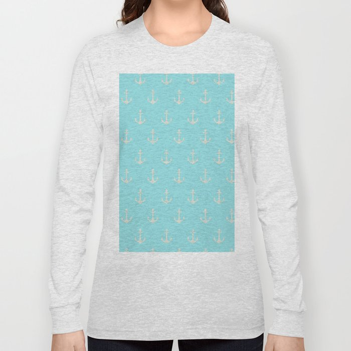 Maritime Aqua and White Anchor Pattern on #Society6 Long Sleeve T-shirt