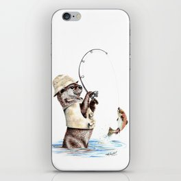 """ Natures Fisherman "" fishing river otter with trout iPhone Skin"