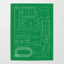 Sport Courts Pattern Art Poster