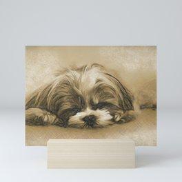 Sweet Dreams - Shih Tzu Puppy Sleeping Mini Art Print