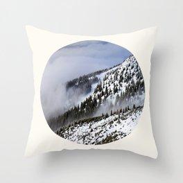 Mid Century Modern Round Circle Photo Graphic Design Winter Ski Hills Throw Pillow