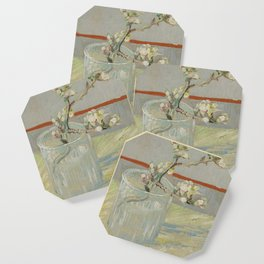 Sprig of Flowering Almond in a Glass Coaster
