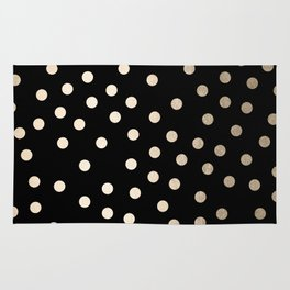Simply Dots White Gold Sands on Midnight Black Rug