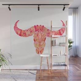 Water Buffalo Skull – Pink Ombré Wall Mural