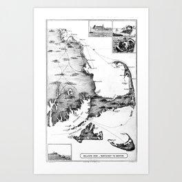 Vintage Map of Cape Cod (1885) BW Art Print