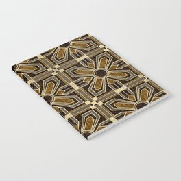 Art Deco Floral Tiles in Browns and Faux Gold Notebook