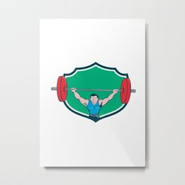 Weightlifter Deadlift Lifting Weights Shield Cartoon Metal Print
